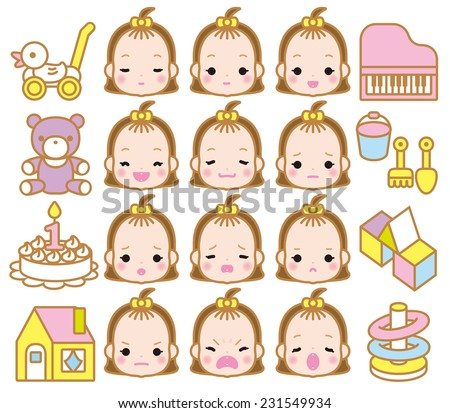 girls of expression - stock vector