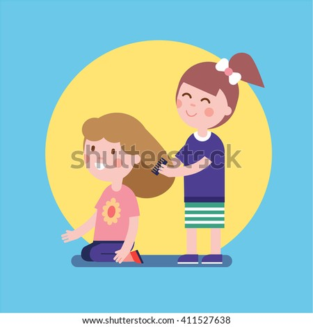 Girls playing hair salon game. Kids brushing hair with a comb. Modern flat vector illustration clipart. - stock vector