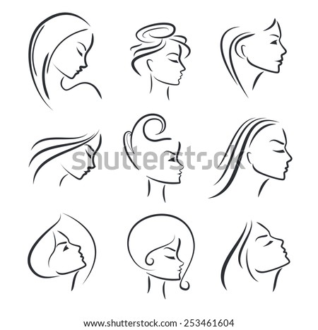 Girls portrait  - vector silhouette icon, monochrome - stock vector