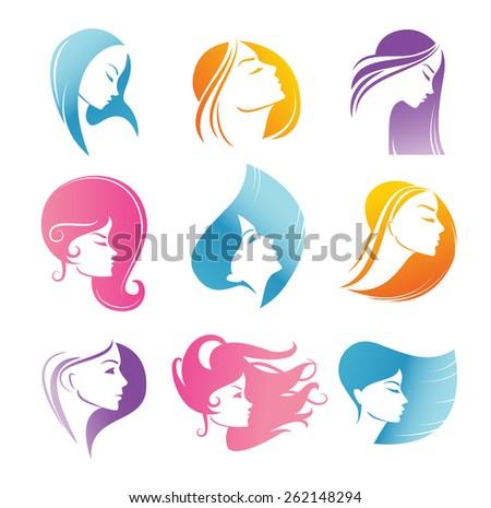 Girls portrait  - vector silhouette icons. - stock vector