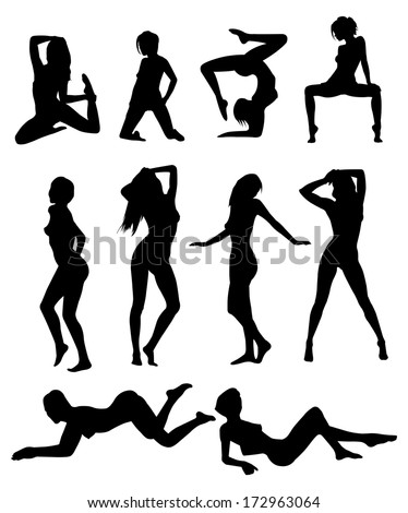girls poses - stock vector