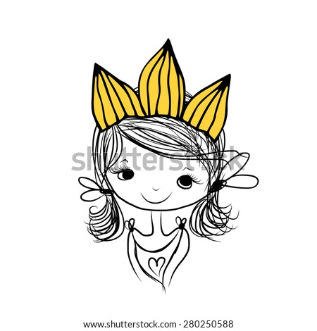 Girls princess with crown on head for your design, vector illustration - stock vector