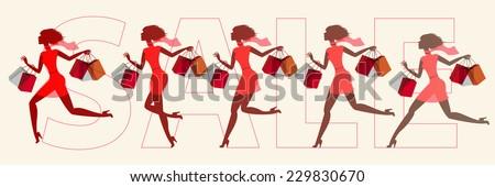 Girls run on sale. Vector illustration. Set - stock vector