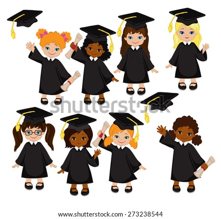 Girls. Set of children in a graduation gown and mortarboard. Vector illustration of a group of students and graduates of kindergarten  on a white background. - stock vector