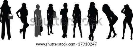 girls silhouettes - stock vector