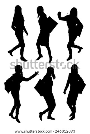Girls silhouettes set