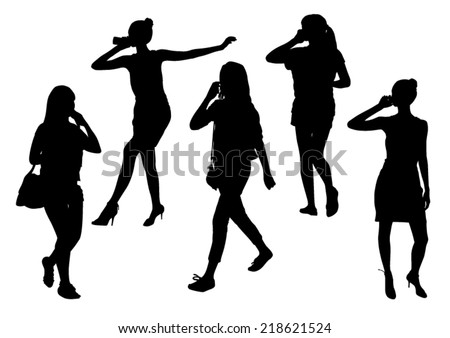 Girls silhouettes talking on mobile phone  - stock vector