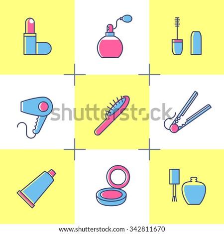 Girls stuff. Vector cosmetics and toiletry. Lipstick, perfume, mascara, hair dryer, comb, cream, hand mirror, nail polish. - stock vector