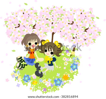 Girls talking at the place where the flower of a cherry tree and the field is in full glory
