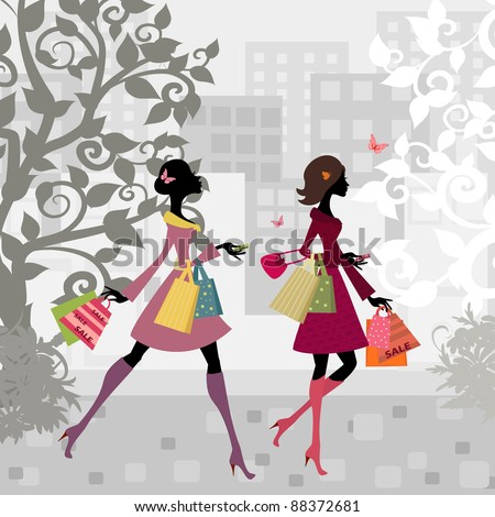 Girls walking around town with shopping - stock vector