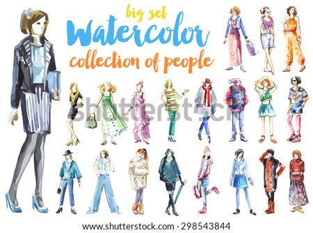 Girls, watercolor set sketches girls, collection womans and little young girls, fashion model, girls shopping night out - stock vector