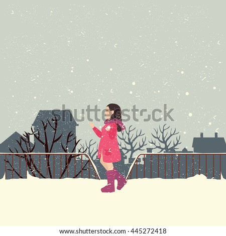 girls wearing jacket in snow enjoy cold weather - stock vector