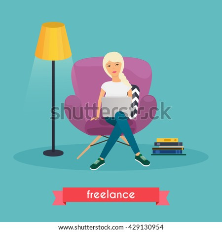Girls working at home. Young woman sitting on a chair and using laptop. Freelance, self employed, freedom, in living room.  - stock vector