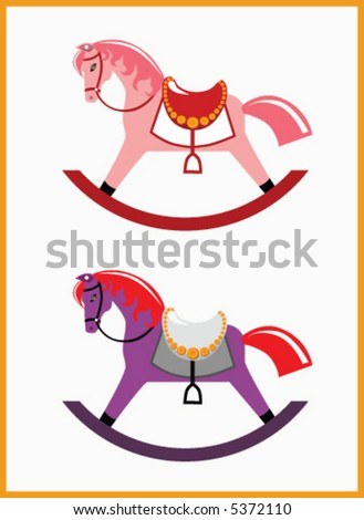 Girly and Red Hat rocking horses - stock vector