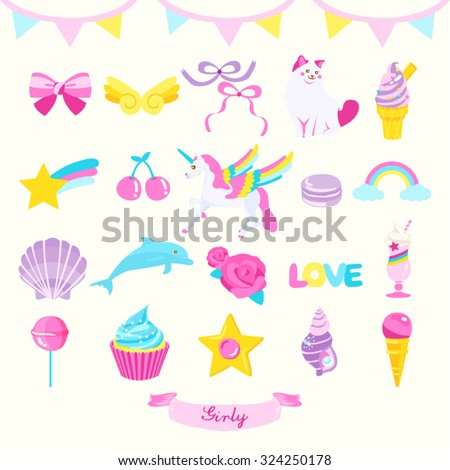 Girly Design Element Vector Design Illustration - stock vector