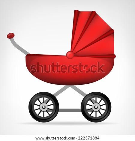 girly red stroller object on white vector illustration - stock vector