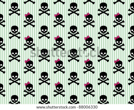 Girly Skull and Crossbones on Striped Background - stock vector