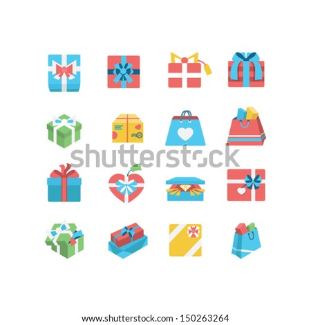 Git box icon set - stock vector