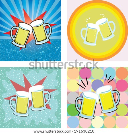 give a toast of beer graphic on retro styles background vector - stock vector