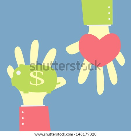 give money saving in piggy bank for love - stock vector