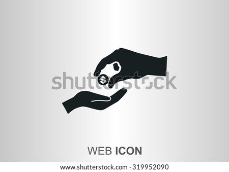 give palms, web icon. vector design - stock vector