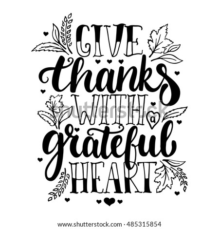 Give thanks clip art black and white