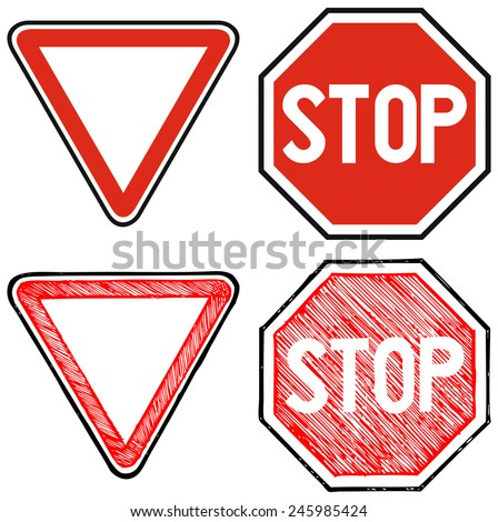 Give way road and Stop. Road signs priority. Doodle style - stock vector