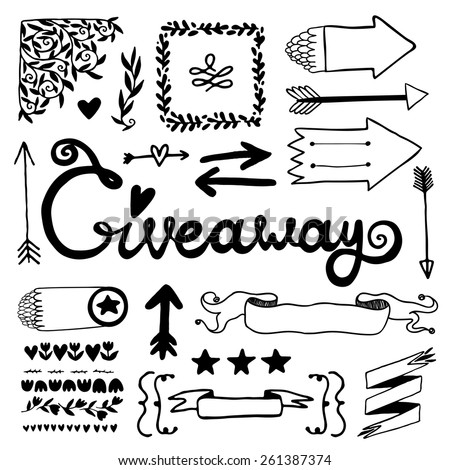 Giveaway and vintage elements set. - stock vector