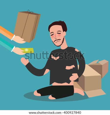 giving money to poor homeless living in card board beggar  zakat concept giving in islam  - stock vector