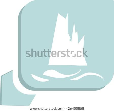 Glacier melting, vector icon - stock vector