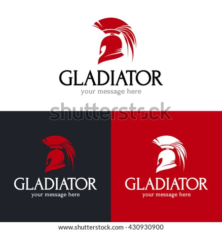 Gladiator helmet logo design. Ancient greek armor icon. Vector illustration. - stock vector