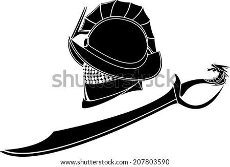 gladiators helmet and sword. vector illustration - stock vector