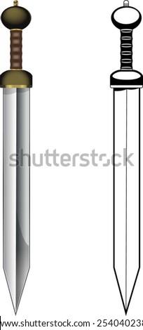 gladius roman sword - stock vector