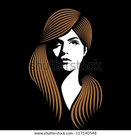 glamor girl with black background - stock vector