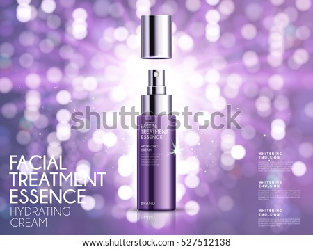 Glamorous cosmetic ads, facial treatment essence for annual sale or christmas sale. Purple spray bottle isolated on glitter particles. 3D illustration.