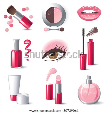 Glamorous make-up icons set - vector. - stock vector