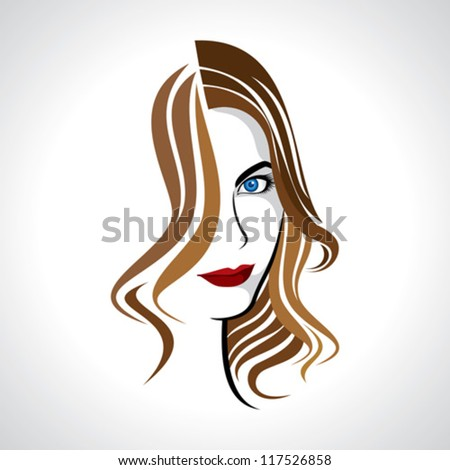 glamour girl with brown hair - stock vector