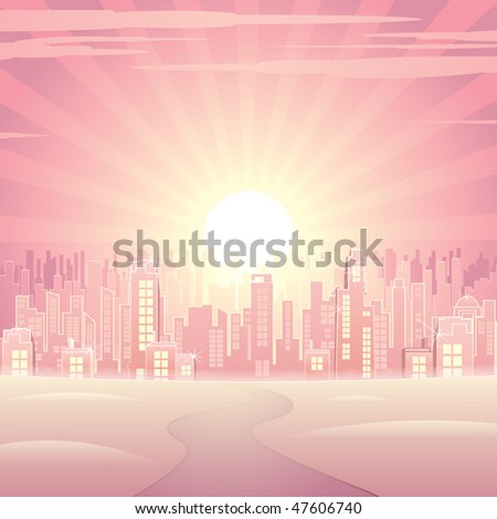 Glamour pink cityscape -vector image - stock vector