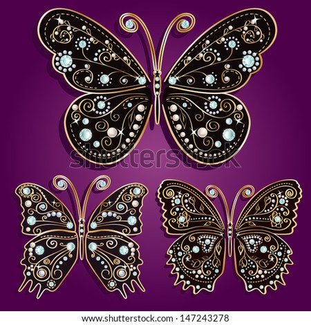 Glamour set collections of vintage golden butterflies with elegance ornament encrusted with blue jewels on  purple background. with shadows Vector illustration - stock vector
