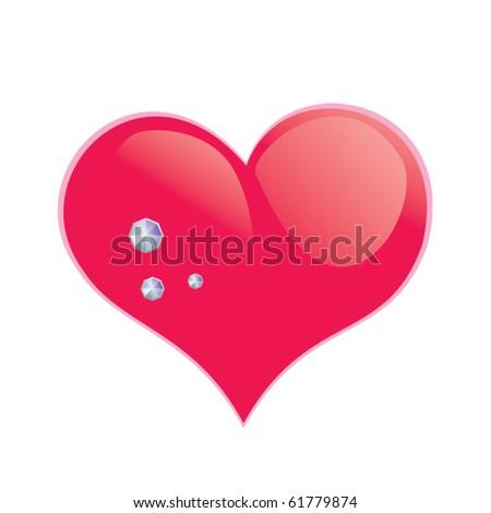 Glamour vector heart with diamonds - stock vector