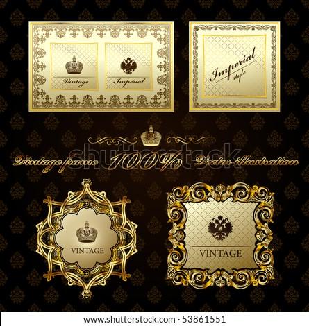 Glamour vintage gold frame decorative background. Vector illustration - stock vector