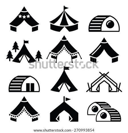 Glamping, luxurious camping tents and bambu houses icons set  - stock vector