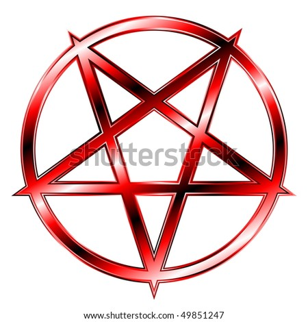 glaring red pentagram - stock vector