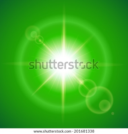 Glaring sun with lens flare over green background - stock vector