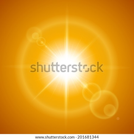 Glaring sun with lens flare over orange background - stock vector