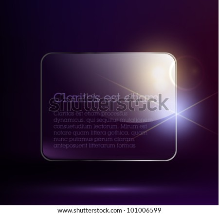 Glass abstract background. Transparent glass plate. Vector illustration. EPS10. graphic design or web. Dark background.