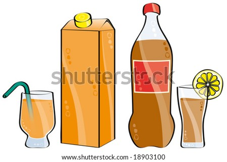 glass and bottle of cola and orange juice isolated on white - stock vector