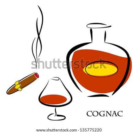 Glass and bottle of luxury cognac with best tobacco cigar for high quality lifestyle. Vector eps10 illustration. Raster file included in portfolio - stock vector