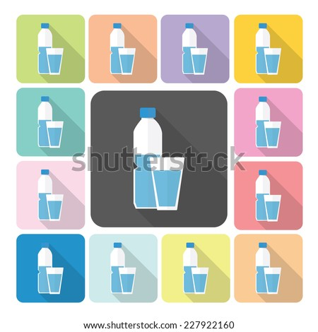 Glass and bottle of water Icon color set vector illustration. - stock vector