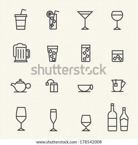 Glass and bottle vector stroked icons.Stroke path layer included. - stock vector